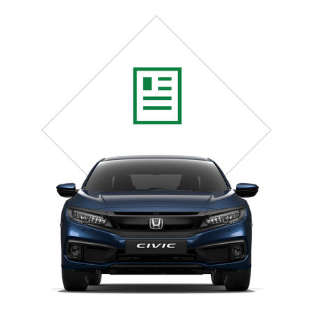 Vue avant de la Honda Civic 4 portes avec illustration de la brochure.