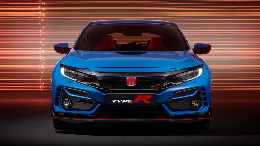 Vue de face de la Honda Civic Type R GT, bleue.