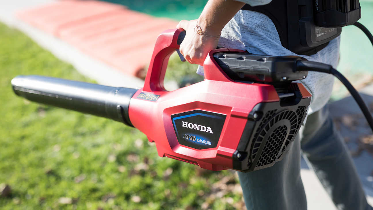 Close up of Honda cordless leaf blower.