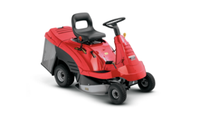 Ride-on mower, front three-quarter, right facing.